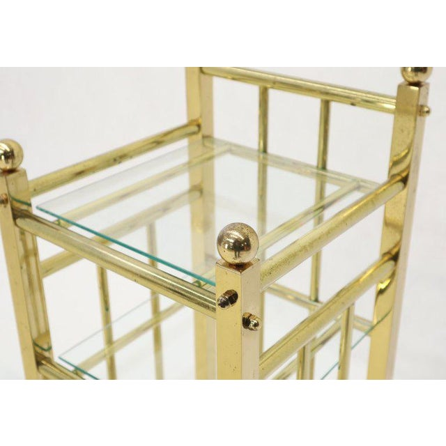 1960s Mid-Century Modern Brass and Glass Square Stand Table Cart Pedestal on Wheels For Sale - Image 5 of 13