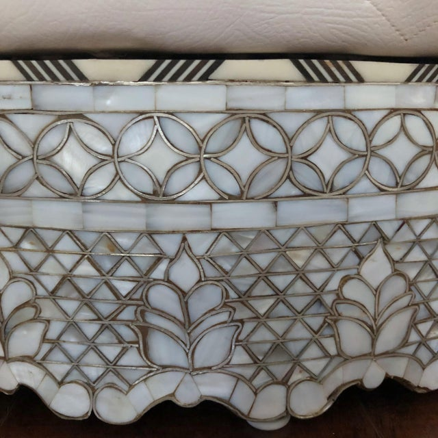 Mother of Pearl Inlay Large Ottoman For Sale In Los Angeles - Image 6 of 8