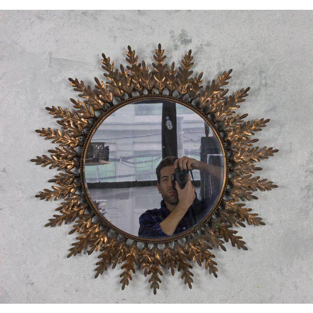Spanish Copper-Plated Sunburst Mirror For Sale - Image 9 of 9