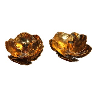 "1960s Mid Century Maison Charles ""Chrystiane"" Nenuphar Candle Holders - a Pair For Sale"