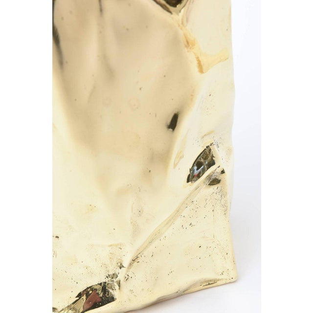 Gold French Hallmarked Limited Edition Brass/ Bronze Crushed Paper Bag Sculpture For Sale - Image 8 of 11