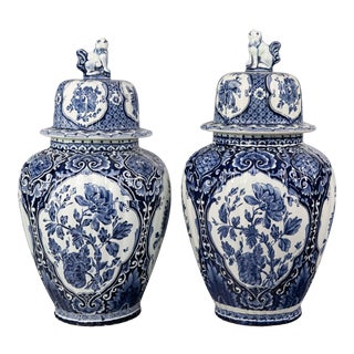 Large Antique Dutch Delft Lidded Ginger Jars Vases - Set of 2 For Sale