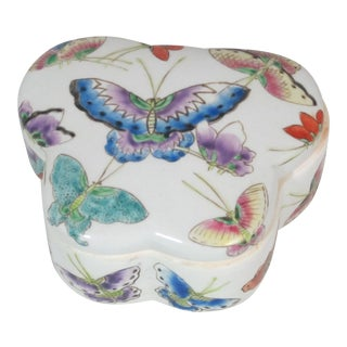 1970s Cottage Butterfly Hand Painted Box For Sale