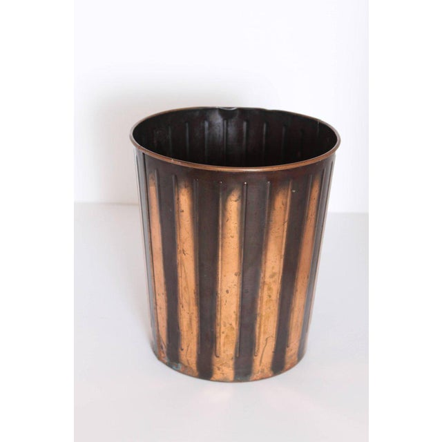 Machine Age Art Deco Industrial Arts Waste Receptacle by Erie Art Metal Fabulous rolled-metal and ribbed construction,...