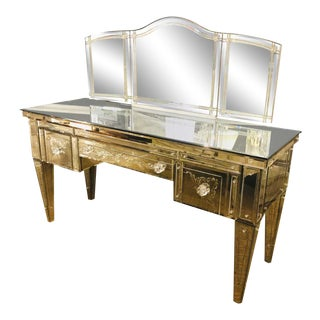 Custom Beveled and Etched Glass Mirrored Vanity Desk With Attached Mirror For Sale