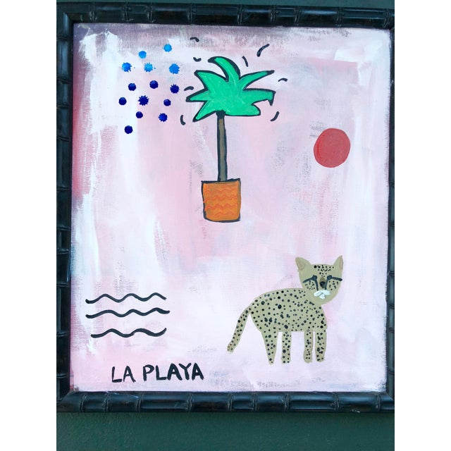 """Original jungle painting by artist Virginia Chamlee. Titled """"La Playa,"""" the piece is from Chamlee's Jungle series of works..."""