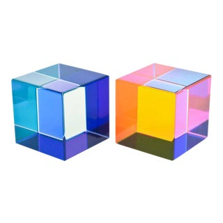 Pair of Signed Large Square Vasa Laminated Lucite Cube Sculptures For Sale