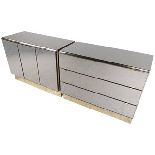 Ello Furniture Vintage Modern Mirrored Cabinets - A Pair For Sale