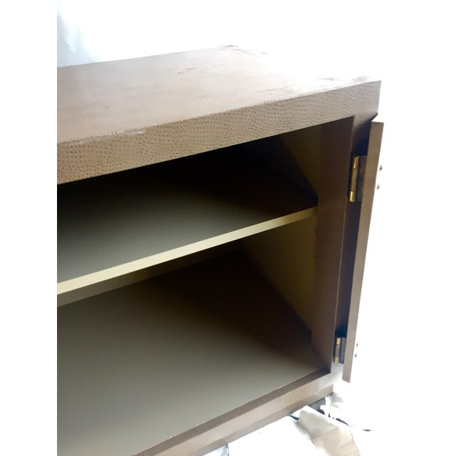 Marge Carson Ostrich Skin & Brass Accent Cabinet - Image 6 of 8