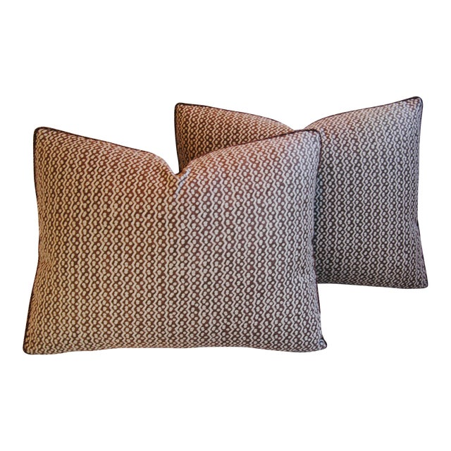 Italian Mariano Fortuny Tapa Feather & Down Pillows - A Pair - Image 1 of 10