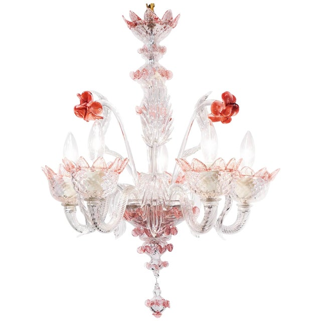 Murano Pink Rose and Crystal Glass Chandelier - Image 1 of 10