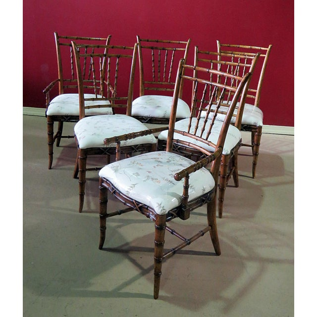 Mid Century Faux Bamboo Dining Chairs - Set of 6 For Sale - Image 10 of 10