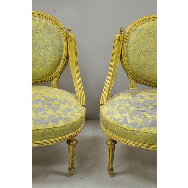 Vintage French Louis XVI Style Low Petite Boudoir Small Hiprest Chairs - a Pair For Sale - Image 4 of 13