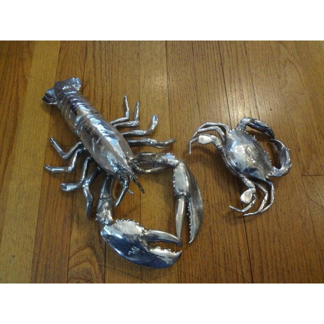 Vintage Italian Silver Plated Lobster and Crab For Sale - Image 9 of 13