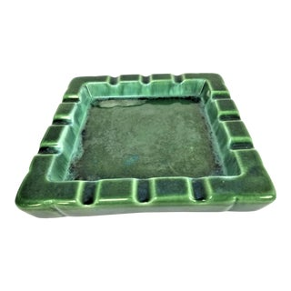 Vintage Mid Century Green Majolica Cigar Ashtray For Sale