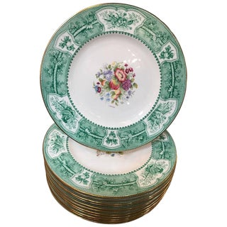 Wedgwood Hand-Painted Service Plates Artist Signed - Set of 12 For Sale