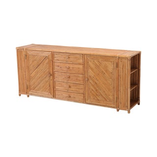 Bamboo Credenza With Faux Bamboo Chrome Frame Gabriella Crespi Style For Sale