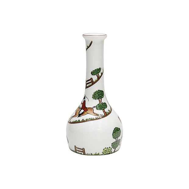"Crown Staffordshire English ""Hunting Scene"" bud vase. Maker's mark on underside. Light wear."