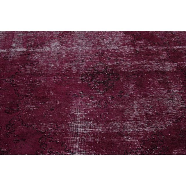 """Modern Industrial Style Distressed Over-Dyed Persian Tabriz Rug - 9'3"""" x 12'1"""" For Sale - Image 9 of 13"""