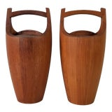 Image of Vintage Jens Quistgaard Staved Teak Ice Buckets - a Pair For Sale