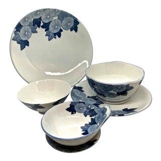 Vintage Japanese Blue and White Serving Set For Sale