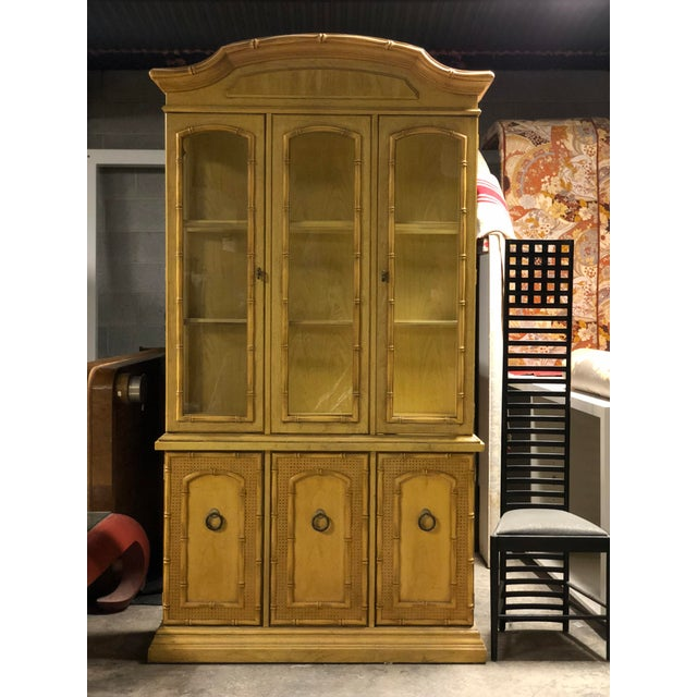 Vintage Yellow Faux Bamboo China Cabinet For Sale - Image 9 of 13