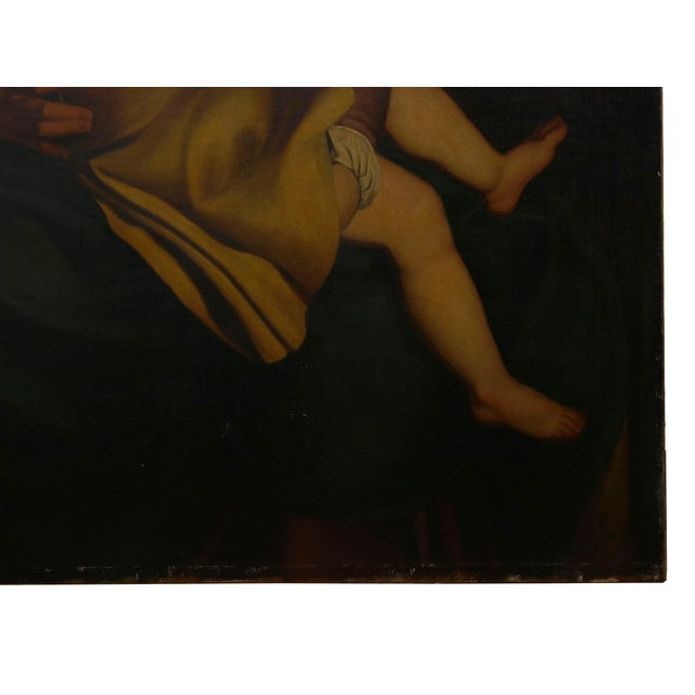 """""""Madonna & Child"""" 19th Century Copyist Oil Painting After Orazio Gentileschi For Sale - Image 9 of 13"""