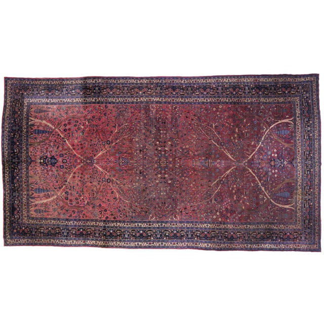 Captivating Antique Persian Mashhad Gallery Rug in Jewel Tone Colors For Sale - Image 9 of 10