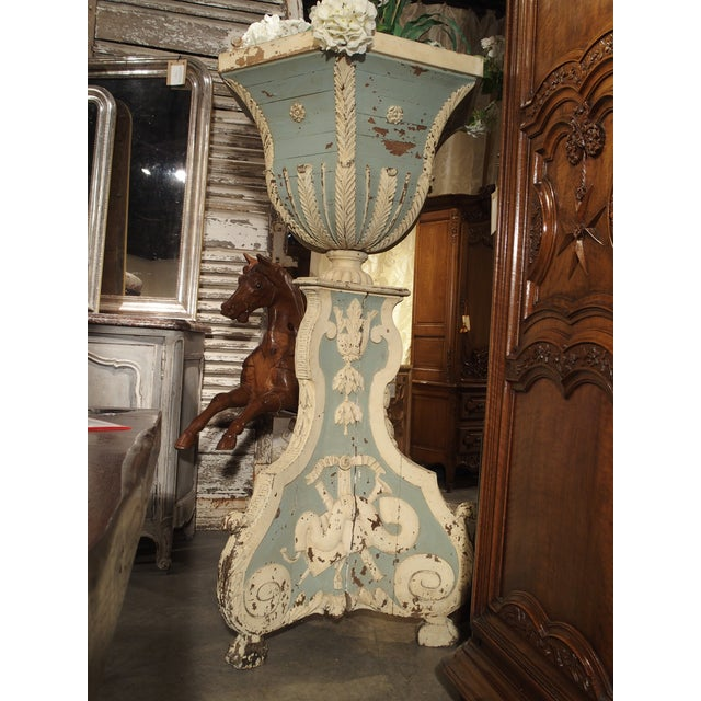 Large and Unique 18th Century Painted Wooden Jardiniere From Bruges For Sale - Image 12 of 13