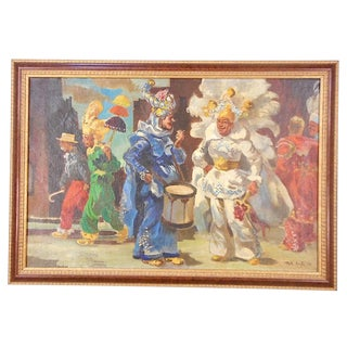 Original Mid 20th C. Impressionist Oil/Canvas by Listed Philadelphia Artist-Signed/Dated-Mummers Parade For Sale
