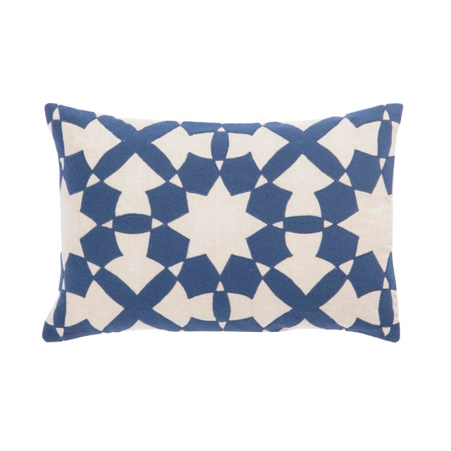 Contemporary Nikki Chu by Jaipur Living Casino Blue/ Ivory Geometric Down Throw Pillow For Sale - Image 3 of 3