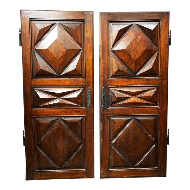 Late 18th C Antique French Oak Armoire Doors, a Pair For Sale