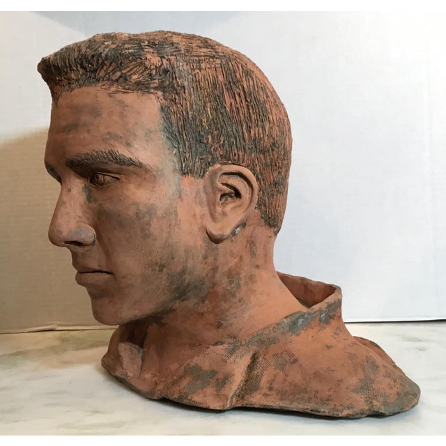 Ceramic Young Man Terra Cotta Bust Signed MD For Sale - Image 7 of 13