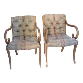 Vintage 20th C. Scroll Armchairs - A Pair For Sale