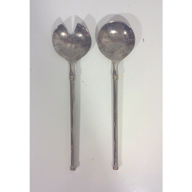 Modernist Silver Plated Serving Utensils - Pair - Image 2 of 6