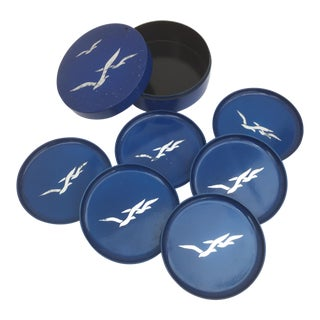 1960s Blue Mid-Century Modern Japanese Lacquered Bird Coasters - Set of 6 For Sale