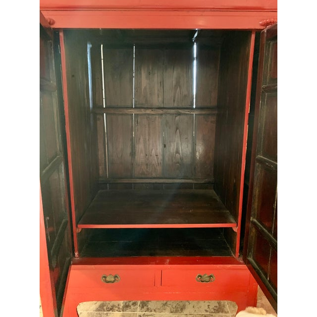 Chinese Red Lacquered Armoire Cabinet For Sale In New York - Image 6 of 11