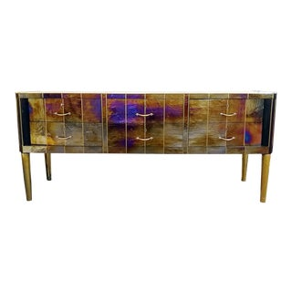 Italian Pearl Glass and Brass Chest of Drawers, 20th Century