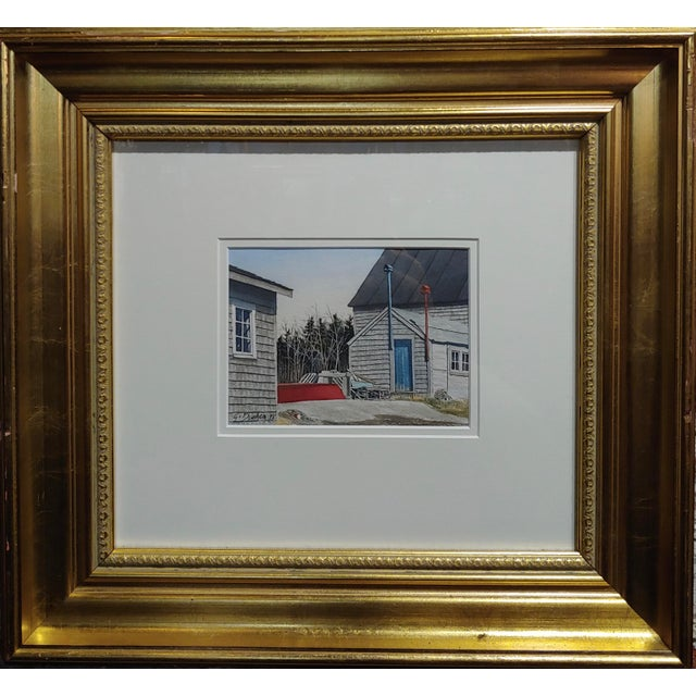Blue Gregory Dunham - the Cottage W/Blue Door- Watercolor Painting For Sale - Image 8 of 8