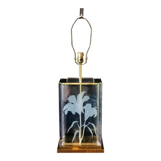 Vintage Frederick Ramond Lucite Glass & Brass Lamp For Sale
