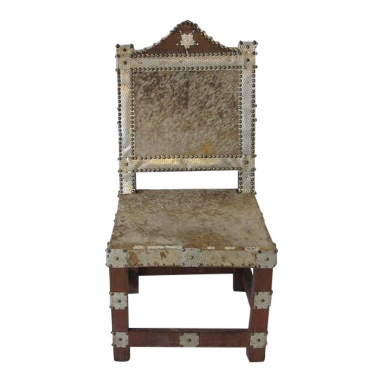 Folk Art African Royal or Prince Aluminum and Metal Studded Animal Skin Chair For Sale