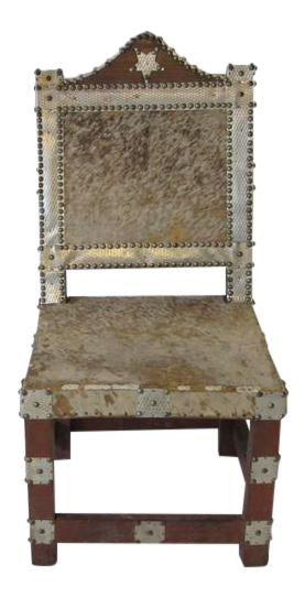 Bon Folk Art African Royal Or Prince Aluminum And Metal Studded Animal Skin  Chair   Image 1