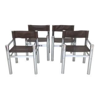 1970s Vintage Chrome Dining Chairs- Set of 4 For Sale