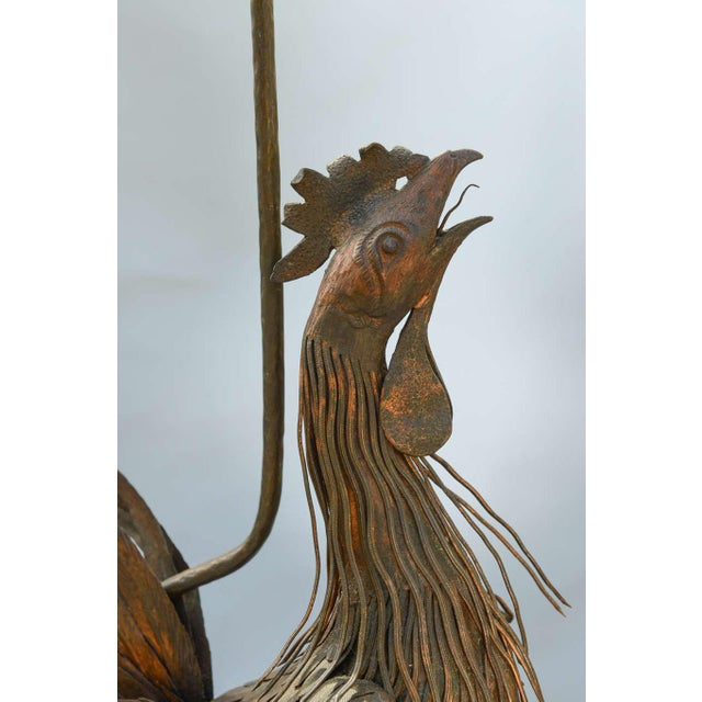 Asian Pair of 19th C. Bronze Rooster Lamps For Sale - Image 3 of 9