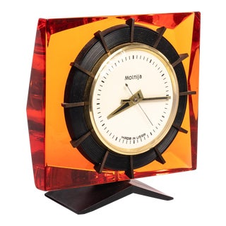 1960s Vintage Soviet Orange Lucite Wind Clock For Sale