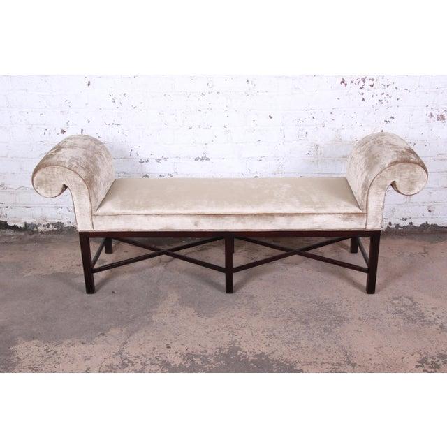 2000 - 2009 Baker Furniture Mahogany and Velvet Window Bench For Sale - Image 5 of 12
