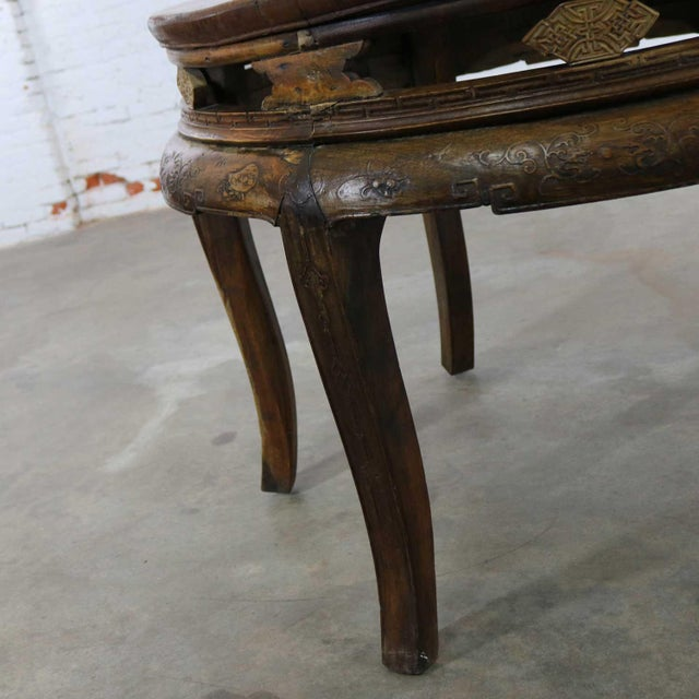 Brown Antique Chinese Round Center Table Hand Carved Elm For Sale - Image 8 of 13