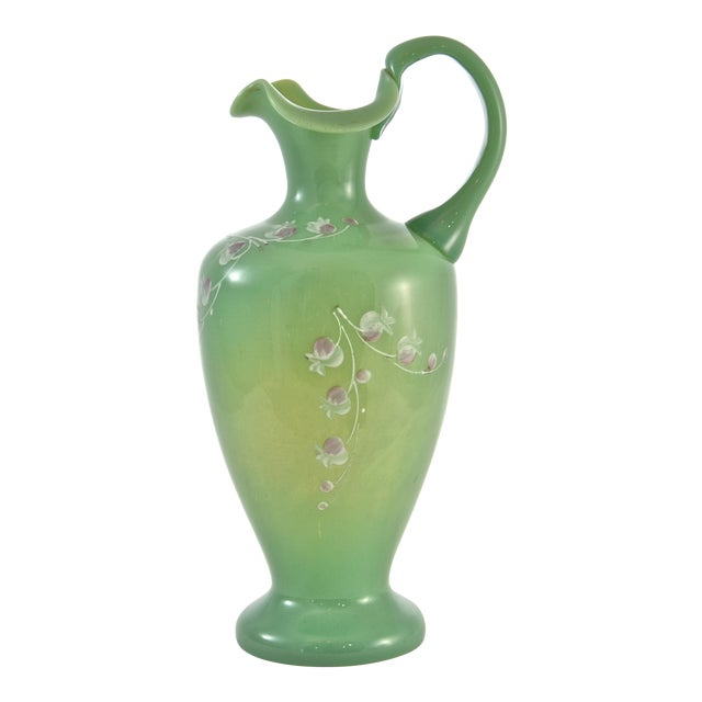 19th Century Green Jadeite Glass Vase For Sale