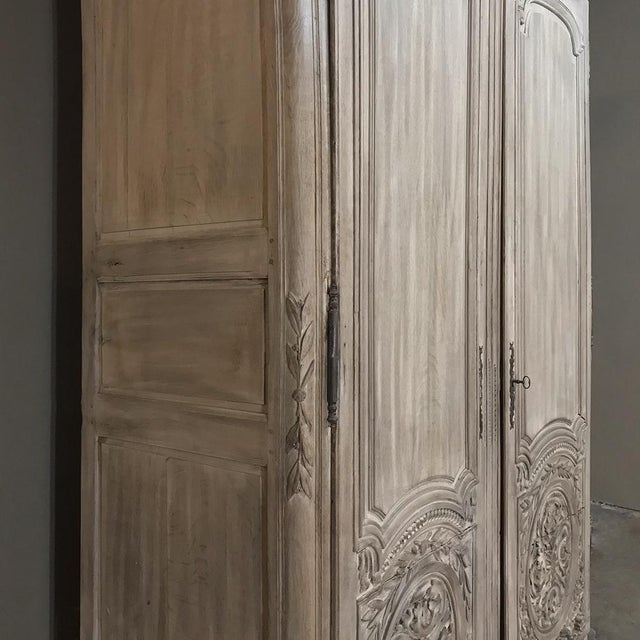 18th Century Country French Louis XVI Period Whitewashed Armoire For Sale - Image 9 of 12