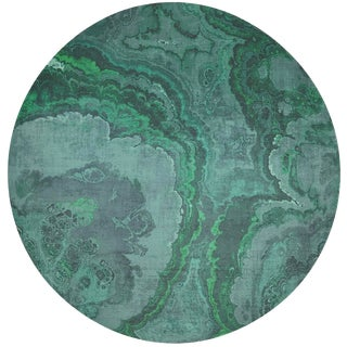 "Nicolette Mayer Agate Malachite 16"" Round Pebble Placemats, Set of 4 For Sale"